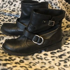 Short Moto Boots with Chunky Heel, Size 7.5